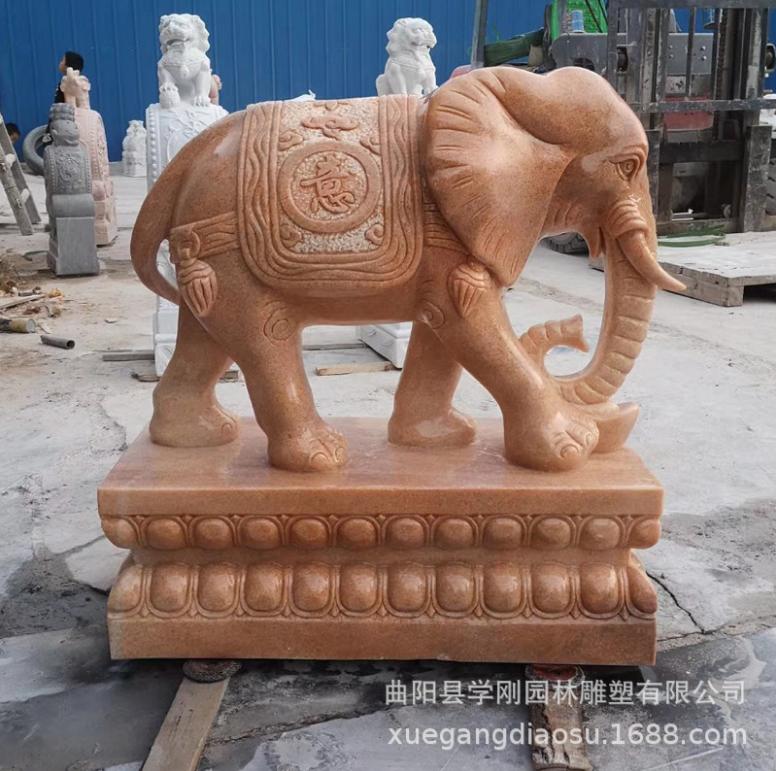 优质厂家供应晚霞红大象石雕