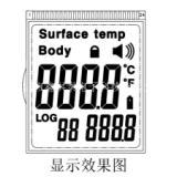 红外测温仪显示屏HTP68460英文版额温枪液晶屏LCD体温计显示屏