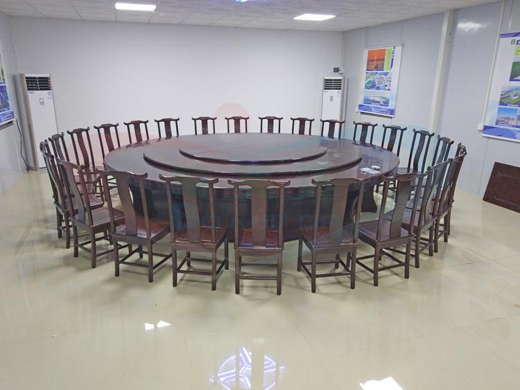 20人位实木电动餐桌 公司接待电动圆桌